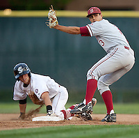 SANTA CLARA, CA - April 19, 2011: Kenny Diekroeger of Stanford baseball shows the tag and looks for the call on a steal attempt during Stanford's game against Santa Clara at Stephen Schott Stadium. Stanford won 10-3.
