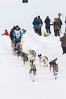 Wade Marrs on Cordova St. hill during the Anchorage start day of  Iditarod 2018<br /> <br /> Photo by Trent Grasse /SchultzPhoto.com  (C) 2018  ALL RIGHTS RESERVED