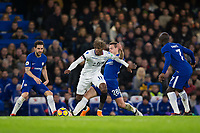 Crystal Palace's Wilfried Zaha holds off the challenge from Chelsea's Cesar Azpilicueta <br /> <br /> Photographer Craig Mercer/CameraSport<br /> <br /> The Premier League - Chelsea v Crystal Palace - Saturday 10th March 2018 - Stamford Bridge - London<br /> <br /> World Copyright &copy; 2018 CameraSport. All rights reserved. 43 Linden Ave. Countesthorpe. Leicester. England. LE8 5PG - Tel: +44 (0) 116 277 4147 - admin@camerasport.com - www.camerasport.com