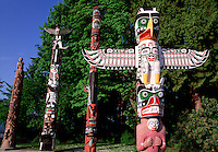 Totem poles at Stanley Park Vancouver Canada.