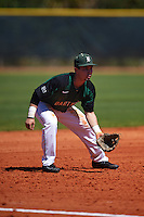 Dartmouth Big Green third baseman Justin Fowler (25) during a game against the Eastern Michigan Eagles on February 25, 2017 at North Charlotte Regional Park in Port Charlotte, Florida.  Dartmouth defeated Eastern Michigan 8-4.  (Mike Janes/Four Seam Images)