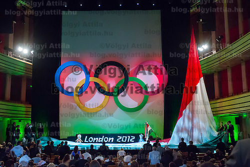 Hungarian national flag is being raised durint the Swearing in ceremony of the Hungarian Olympic Team that will travel to London in Budapest, Hungary on June 22, 2012. ATTILA VOLGYI