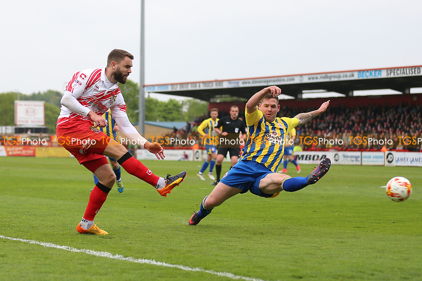 Josh McQuoid of Stevenage with a shot on goal during Stevenage vs Accrington Stanley, Sky Bet EFL League 2 Football at the Lamex Stadium on 6th May 2017