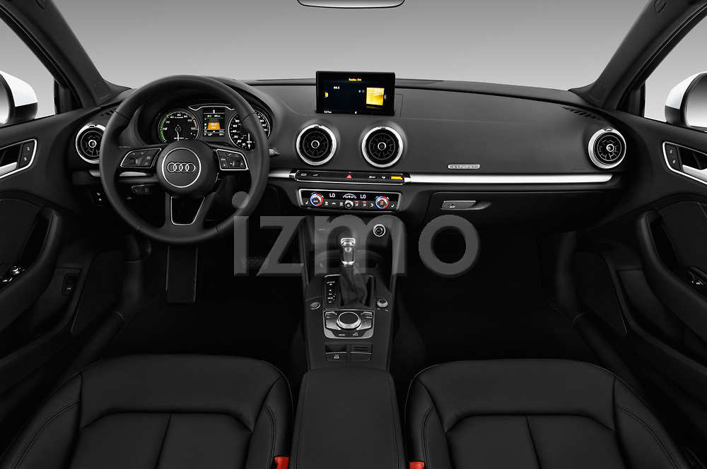 Stock photo of straight dashboard view of 2018 Audi A3 Sportback e tron Premium  5 Door Hatchback
