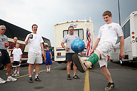 USA fans juggle the ball in the parking lot prior to the start of the match. The men's national teams of the United States and Argentina played to a 0-0 tie during an international friendly at Giants Stadium in East Rutherford, NJ, on June 8, 2008.