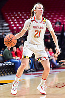 College Park, MD - NOV 16, 2016: Maryland Terrapins guard Sarah Myers (21) in action during game between Maryland and Maryland Eastern Shore Lady Hawks at XFINITY Center in College Park, MD. The Terps defeated the Lady Hawks 106-61. (Photo by Phil Peters/Media Images International)