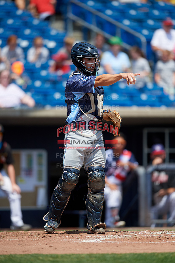 West Michigan Whitecaps catcher Brady Policelli (6) asks for a check swing appeal during a game against the Quad Cities River Bandits on July 23, 2018 at Modern Woodmen Park in Davenport, Iowa.  Quad Cities defeated West Michigan 7-4.  (Mike Janes/Four Seam Images)