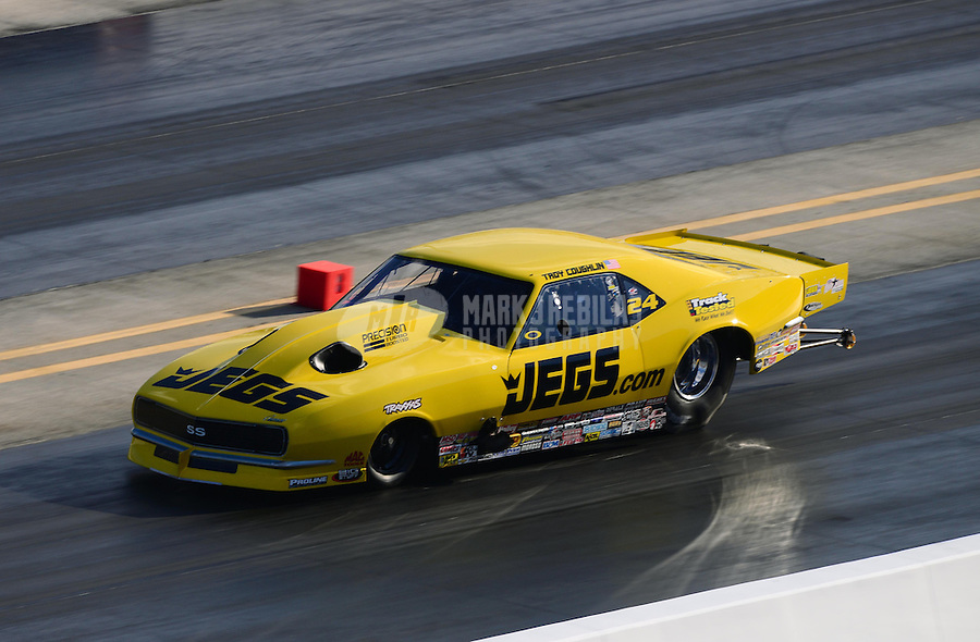 Sept. 14, 2012; Concord, NC, USA: NHRA pro mod driver Troy Coughlin during qualifying for the O'Reilly Auto Parts Nationals at zMax Dragway. Mandatory Credit: Mark J. Rebilas-