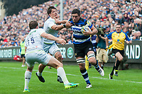 Francois Louw of Bath Rugby fends Michael Rhodes of Saracens. Aviva Premiership match, between Bath Rugby and Saracens on September 9, 2017 at the Recreation Ground in Bath, England. Photo by: Patrick Khachfe / Onside Images