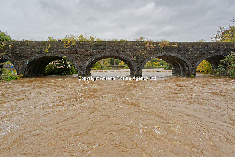 Pictured: The level of river Neath is high off Dulais Fach Road (B4434) between the areas of Aberdulais and Tonna in Neath, south Wales, UK. Saturday 13 October 2018<br /> Re: Flooding caused by Storm Callum in the Neath area, south Wales, UK.