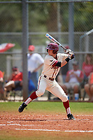 Saint Joseph's Hawks pinch hitter Liam Bendo (5) bats during a game against the Ball State Cardinals on March 9, 2019 at North Charlotte Regional Park in Port Charlotte, Florida.  Ball State defeated Saint Joseph's 7-5.  (Mike Janes/Four Seam Images)