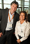 Maarten Bijh and Debra Barnhart at the West Club in Reliant Stadium Wednesday May 2,2012. (Dave Rossman Photo)