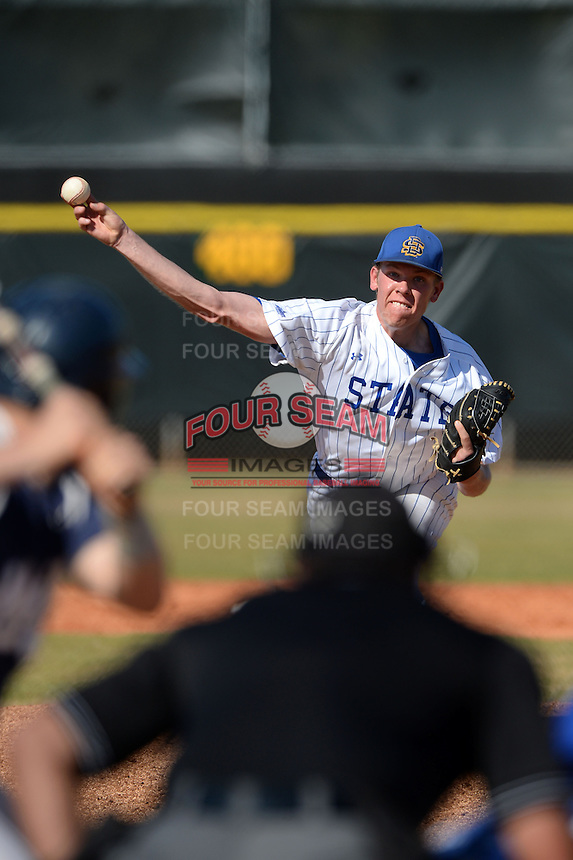 South Dakota State JackRabbits pitcher Chad Hodges (34) delivers a pitch during a game against the Georgetown Hoyas at South County Regional Park on March 9, 2014 in Port Charlotte, Florida.  Georgetown defeated South Dakota 7-4.  (Mike Janes/Four Seam Images)