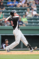 Infielder Ryan Rua (2) of the Hickory Crawdads bats in a game against the Greenville Drive on Sunday, June 9, 2013, at Fluor Field at the West End in Greenville, South Carolina. Hickory won, 6-3. (Tom Priddy/Four Seam Images)