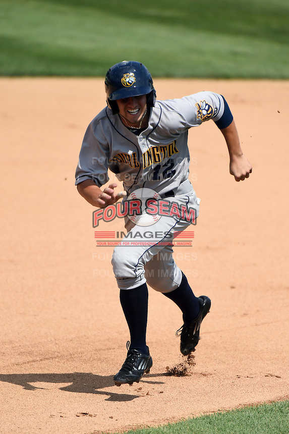 Burlington Bees outfielder Bo Way (12) running the bases during a game against the Kane County Cougars on August 20, 2014 at Third Bank Ballpark in Geneva, Illinois.  Kane County defeated Burlington 7-3.  (Mike Janes/Four Seam Images)