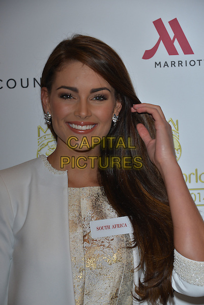 Miss South Africa Rolene STRAUSS<br /> photocall for Miss World 2014 contestants in central London, on November 25, 2014. This year's Miss World contest will take place in London on December 14, 2014<br /> CAP/PL<br /> &copy;Phil Loftus/Capital Pictures