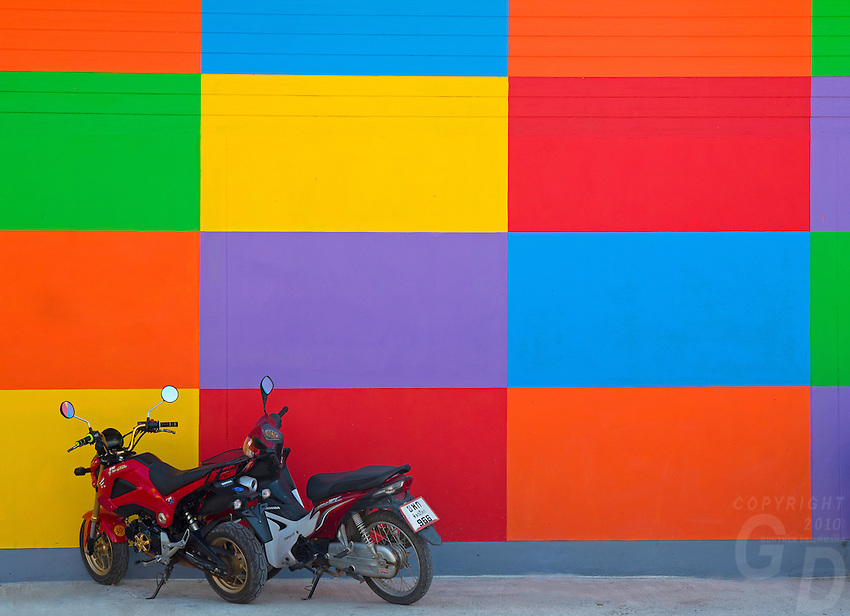 This colorful Building is a Garment Factory located on the Highway outside Phitsanulok in Central Thailand