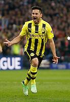 LONDRES, INGLATERRA, 25 DE MAIO 2013 - LIGA DOS CAMPEOES DA EUROPA BAYERN DE MUNIQUE X BORUSSIA DORTMUND - Ilkay Geundogan do Borussia Dortmund  comemora seu gol durante partida contra o Bayern de Munique na final da Liga dos Campeões da Europa no no Estádio de Wembley em Londres na Inglaterra, neste sábado, 25. (FOTO: JOHN / SIBLEY / PIXATHLON / BRAZIL PHOTO PRESS).