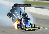Oct. 28, 2012; Las Vegas, NV, USA: NHRA top fuel dragster driver Cory McClenathan has a fire during the Big O Tires Nationals at The Strip in Las Vegas. Mandatory Credit: Mark J. Rebilas-