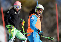 Christian Gieger & Jessica Gallagher  (AUS)<br /> Skiing - APC / Slalom<br /> IPC Alpine Skiing World Cup<br /> Thredbo Resort NSW<br /> Wednesday 4th September 2013<br /> © Sport the library / Jeff Crow