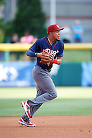 Lehigh Valley IronPigs shortstop J.P. Crawford (3) throws to first during a game against the Buffalo Bisons on July 9, 2016 at Coca-Cola Field in Buffalo, New York.  Lehigh Valley defeated Buffalo 9-1 in a rain shortened game.  (Mike Janes/Four Seam Images)