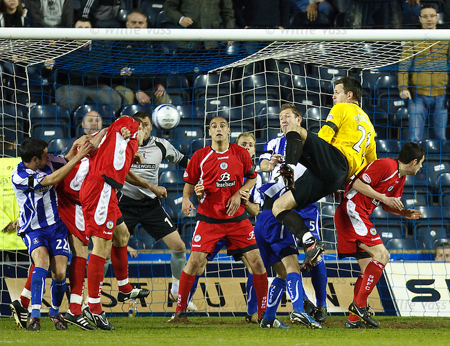 Saints goalie Mark Howard turns desperate striker at far end but fouls Garry Hay as the ball falls to Scott Cuthbert to head in a disallowed equaliser in the dying seconds