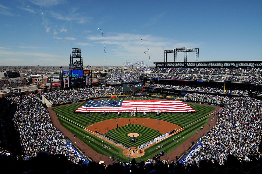 09 April 2010: A general overhead view of Coors Field during opening day ceremony where a giant American flag was carried onto the field during a Major League Baseball game between the Colorado Rockies and the San Diego Padres at Coors Field in Denver,  Colorado. The Rockies beat the Padres 7-0 in the Coors Field home opener.  *****For Editorial Use Only*****