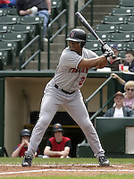 May 16, 2004:  Jon Nunnally of the Indianapolis Indians, Triple-A International League affiliate of the Milwaukee Brewers, during a game at Frontier Field in Rochester, NY.  Photo by:  Mike Janes/Four Seam Images