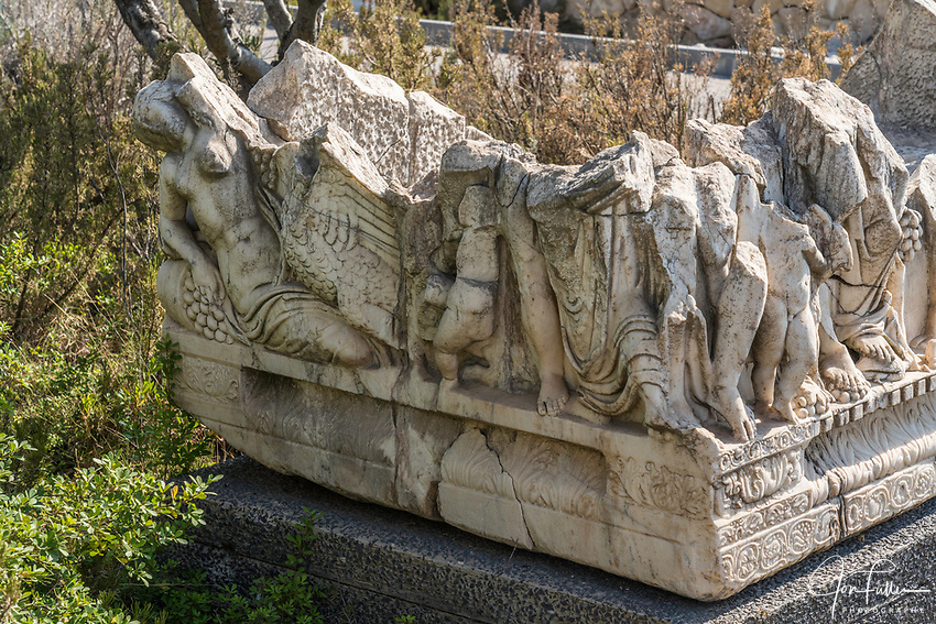 The broken remains of a Roman-era sarcophagus from Caesarea Maritime depict the Myth of Leda and the Swan.  Israel Museum, Jerusalem.