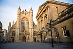 The Abbey and Pump Rooms late evening sun, Bath