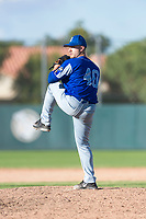 Team Italy relief pitcher Alex Bassani (40) delivers a pitch during an exhibition game against the Oakland Athletics at Lew Wolff Training Complex on October 3, 2018 in Mesa, Arizona. (Zachary Lucy/Four Seam Images)