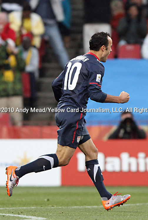 18 JUN 2010:  Landon Donovan (USA)(10) celebrates his goal.  The Slovenia National Team tied the United States National Team 2-2 at Ellis Park Stadium in Johannesburg, South Africa in a 2010 FIFA World Cup Group C match.