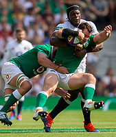 Ireland's Cian Healy is tackled by England's Maro Itoje<br /> <br /> Photographer Bob Bradford/CameraSport<br /> <br /> Quilter Internationals - England v Ireland - Saturday August 24th 2019 - Twickenham Stadium - London<br /> <br /> World Copyright © 2019 CameraSport. All rights reserved. 43 Linden Ave. Countesthorpe. Leicester. England. LE8 5PG - Tel: +44 (0) 116 277 4147 - admin@camerasport.com - www.camerasport.com