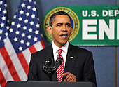 Washington, D.C. - February 5, 2009 -- United States President Barack Obama makes remarks to employees at the United States Department of Energy in Washington, D.C. on Thursday, February 5, 2009..Credit: Ron Sachs / Pool via CNP