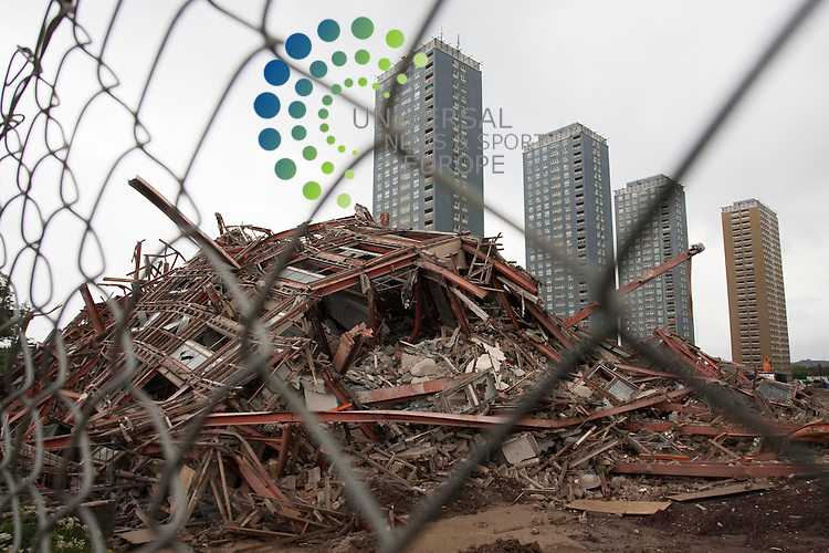 Plans to blow up five tower blocks as part of the Commonwealth Games were abandoned over fears protesters would threaten safety and security, the chief executive of Glasgow 2014 has said.<br /> David Grevemberg also denied that the idea to demolish the Red Road flats during the opening ceremony had been crass or insensitive.<br /> More than 17,000 people signed an online petition against the demolition.<br /> Organisers decided on Sunday to scrap the plan to demolish the blocks.<br /> They had wanted to bring down five of the six remaining Red Road tower blocks in a 15-second segment that would have been broadcast live to a giant screen at the Celtic Park opening ceremony, and to millions of TV viewers around the world.<br /> But critics argued it was insensitive to former residents and to the asylum seekers who occupy the sixth block.<br /> Picture: Universal News And Sport (Scotland) 14/04/ 2014.