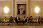 United States Secretary of Defense Donald H. Rumsfeld and Chairman of the Joint Chiefs of Staff General Richard Myers talk to the Kuwaiti Chief of Staff for Defense in Kuwait City, Kuwait, on May 13, 2004.  Rumsfeld and Myers traveled to Kuwait and Iraq to visit the troops.  <br /> Mandatory Credit: Jerry Morrison / DoD via CNP