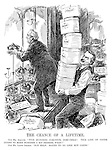 """The Chance of a Lifetime. Our Mr. Asquith. """"Five hundred coronets, dirt-cheap! This line of goods ought to make business a bit brisker, what?"""" Our Mr. Lloyd George. """"Not half; bound to go like hot cakes."""" (Lloyd George carries in hat boxes containing Peerage crowns for display in a shop window with a sign 1911- Everybody Wil Be Adopting This Style; Cheap; and Why Wear The Obsolete Bowler)"""