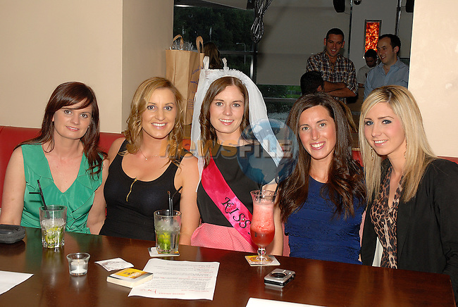 Bride to be Roisin Duffy of Bellewstown enjoying her hen night in Brú with (from left) Aisling Nolan, Christine Smith, Pauline Hughes and Serena Walsh. www.newsfile.ie