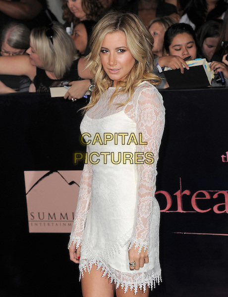 Ashley Tisdale.The Los Angeles premiere of 'The Twilight Saga Breaking Dawn Part 1' at Nokia Theatre at L.A. Live in Los Angeles, California, USA..November 14th, 2011.half length dress  side white lace .CAP/RKE/DVS.©DVS/RockinExposures/Capital Pictures.