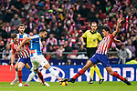 Borja Iglesias Quintas of RCD Espanyol (L) fights for the ball with Rodrigo Cascante of Atletico de Madrid during the La Liga 2018-19 match between Atletico de Madrid and RCD Espanyol at Wanda Metropolitano on December 22 2018 in Madrid, Spain. Photo by Diego Souto / Power Sport Images