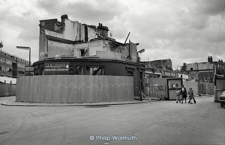 1975: demolition of shops and houses around Clarendon Road, part of the Lancaster Road West Redevelopment area, Notting Hill.