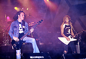 METALLICA - <br /> Cliff Burton and James Hetfield - performing live at Lorelei Germany - 14 Sep 1985.  Photo credit: Bertrand Alary/IconicPix