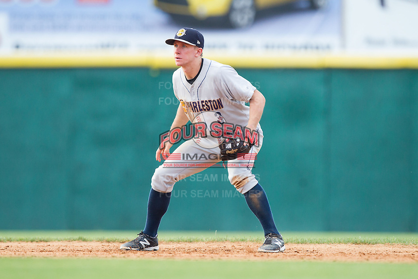 Charleston RiverDogs shortstop John Murphy (3) on defense against the Hickory Crawdads at L.P. Frans Stadium on May 25, 2014 in Hickory, North Carolina.  The RiverDogs defeated the Crawdads 17-10.  (Brian Westerholt/Four Seam Images)