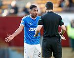 15.12.2019 Motherwell v Rangers: Alfredo Morelos and referee Don Robertson
