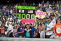 Amy Franz,<br /> AUGUST 7, 2016 - MLB :<br /> Amy Franz, a big fan of Ichiro Suzuki and &quot;Ichi-Meter&quot; inventor, celebrates Ichiro's 3000th MLB hit during the Major League Baseball game between the Miami Marlins and the Colorado Rockies at Coors Field in Denver, Colorado, United States. (Photo by Thomas Anderson/AFLO) (JAPANESE NEWSPAPER OUT)