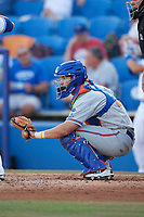 St. Lucie Mets catcher Patrick Mazeika (11) awaits the pitch during a game against the Dunedin Blue Jays on April 20, 2017 at Florida Auto Exchange Stadium in Dunedin, Florida.  Dunedin defeated St. Lucie 6-4.  (Mike Janes/Four Seam Images)