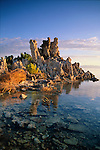 Tufa tower formations stand tall in the early morning sunrise.