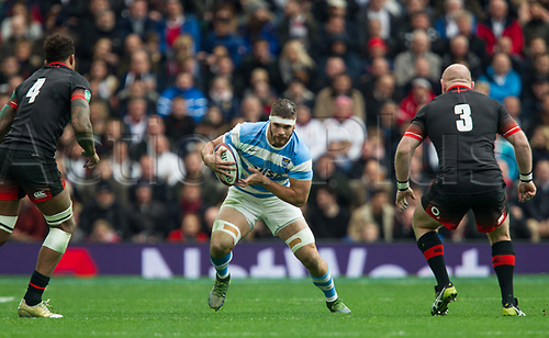 11th November 2017, Twickenham Stadium, London, England; Autumn International Series, England versus Argentina;  Marcos Kremer on the charge for Argentina