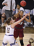 SIOUX FALLS, SD: MARCH 7: Mikale Rogers #33 of IUPUI passes over Western Illinois defender Morgan Blumer #12 during the Women's Summit League Basketball Championship Game on March 7, 2017 at the Denny Sanford Premier Center in Sioux Falls, SD. (Photo by Dick Carlson/Inertia)