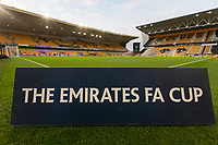 4th January 2020; Molineux Stadium, Wolverhampton, West Midlands, England; English FA Cup Football, Wolverhampton Wanderers versus Manchester United; A Emirates FA Cup sign on the pitch before the match - Strictly Editorial Use Only. No use with unauthorized audio, video, data, fixture lists, club/league logos or 'live' services. Online in-match use limited to 120 images, no video emulation. No use in betting, games or single club/league/player publications